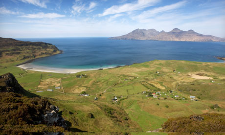 The landscape on the Scottish island of Eigg