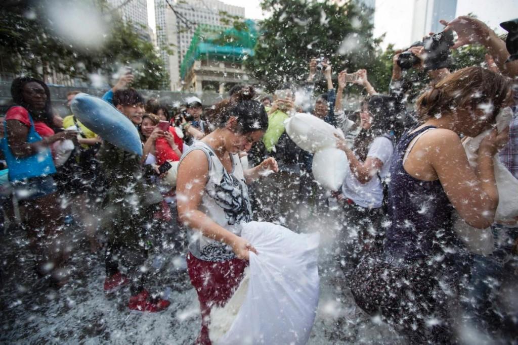 pillow fight day in Hong Kong