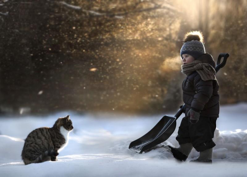 bimbo e gatto